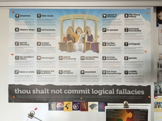Poster of Logical Fallacies I use for my AP Lang class, though I catch all my students looking at it. And yes, those are Game of Thrones magnets (you know, to balance out my Harry Potter fandom).