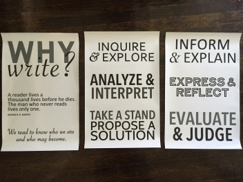These clear wall/window decals will go on the front cabinets in my room. I imagine directing students attention to them whenever they start a writing assignment so that they can keep their purpose in mind.